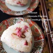 桜の開花とともに「桜のごまオイルおにぎり」*お弁当*お花見
