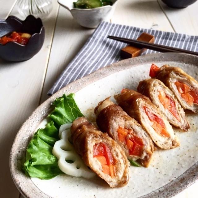 パプリカと人参の生姜焼き風肉巻き。作り置き*簡単