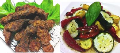 豚肉塩麹竜田、夏野菜の焼きマリネ、モヤシの明太サラダ他