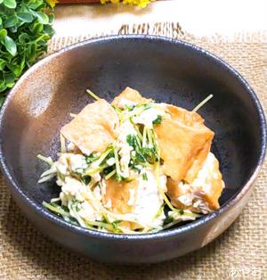 豆苗と厚揚げの中華風卵とじ