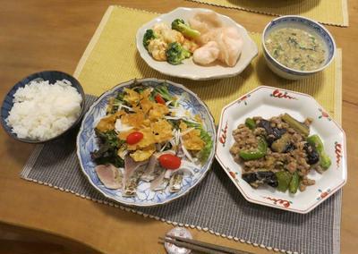 鰹の中華刺身& 茄子とピーマンとひき肉の味噌炒めなど:中華な晩ご飯♪