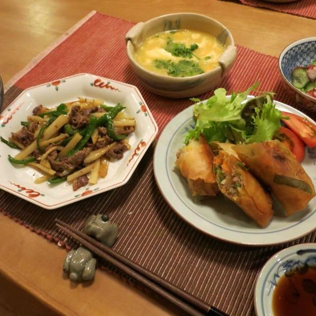 じゃがいもで青椒肉絲&春巻の晩ご飯 と ルドベキアの花♪