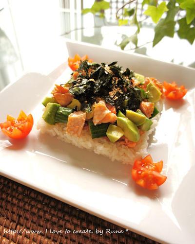 DHAで天才児?&ハラス照り煮de夏野菜チラシ寿司風