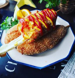 珍しく❤️と、夏休みのおやつにも♪チーズのびのび韓国の味チーズドッグ♪