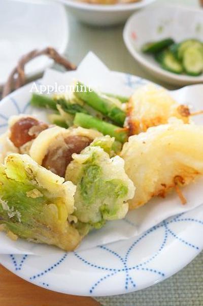 ふきのとうとアスパラの春野菜天ぷら盛り合わせ&かぶといかのさっと煮~春野菜満喫定食