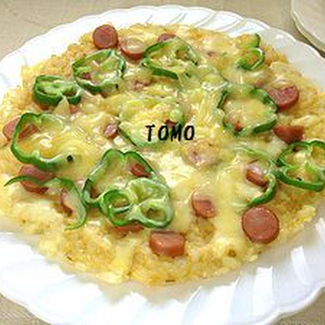 夏休みのお昼に♪フライパン de ご飯ピザ