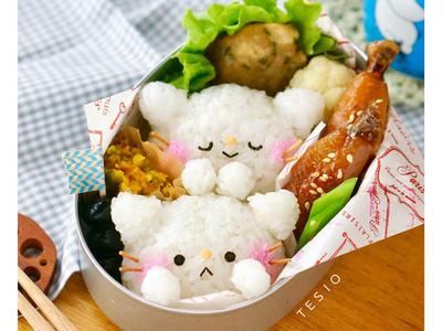 >簡単トロトロ♪手羽中の照り煮と白ねこおにぎり弁当 by chihoさん