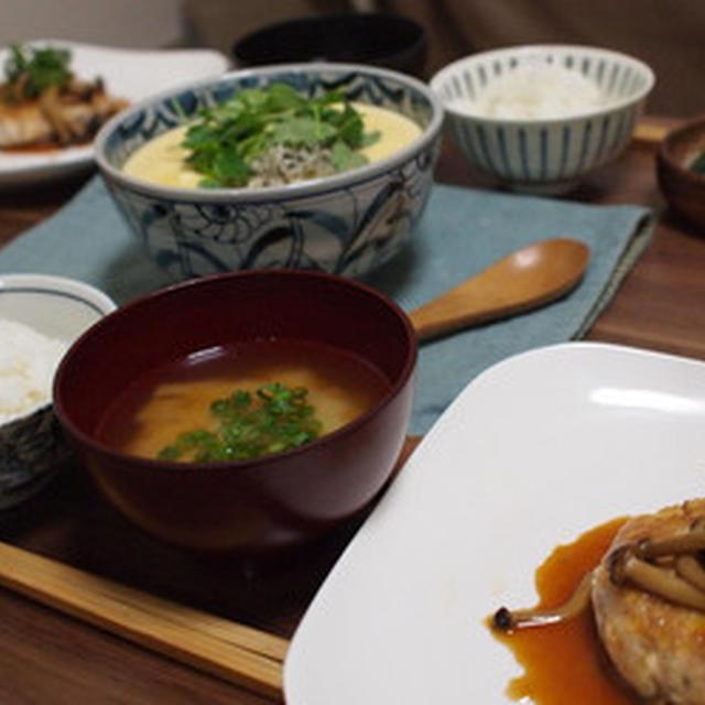 鮪の豆腐ハンバーグと空也蒸し(豆腐茶碗蒸し)