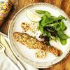 鮭のマスタードマヨネーズ&パセリパン粉焼き 青柚子添え