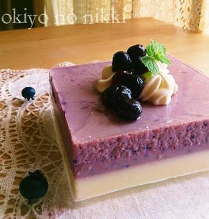 ブルーベリーとお豆腐とヨーグルトの2層ゼリー