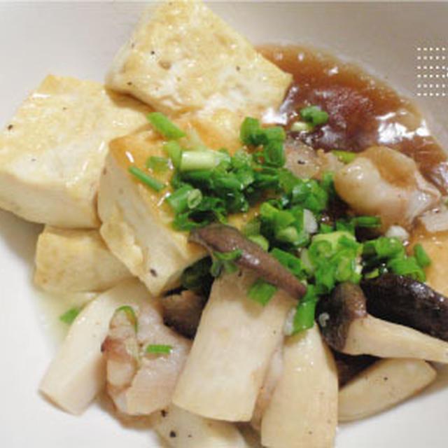 エリンギと塩豆腐と豚肉の生姜餡かけ
