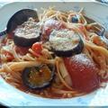 野菜ジュースで簡単パスタ~きしめんとスパゲティの出会い