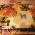 アスパラガスとチキンのマヨネーズ焼き ~ マカロニとオクラのトマト スープ by Cookieさん