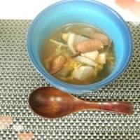 キムチチゲでスープ