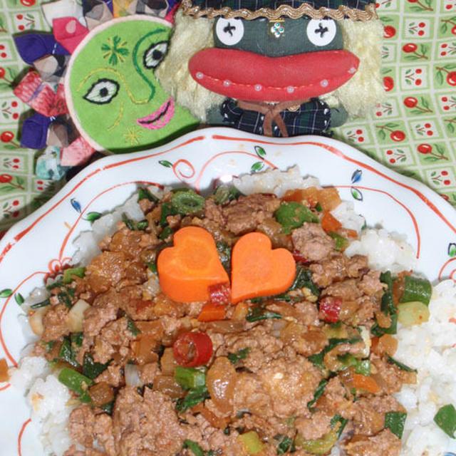 ビビンバ風コチュジャンご飯&牛蒡とコンニャクのサッパリ煮 (お家カフェ)