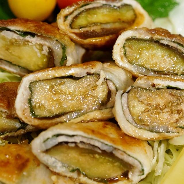 【茄子の豚肉大葉巻き】簡単!!5分!!焼き肉のタレかけで美味しい~です♪