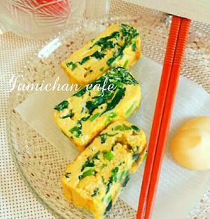 ♡マヨネーズdeふわっふわ♪小松菜入り厚焼きたまごの作り方♡