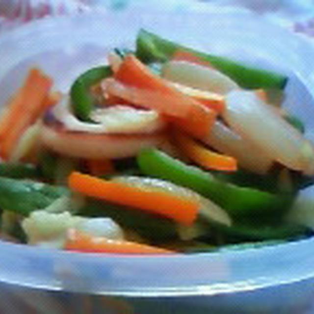 イカとたっぷり野菜のオイスターソース炒め