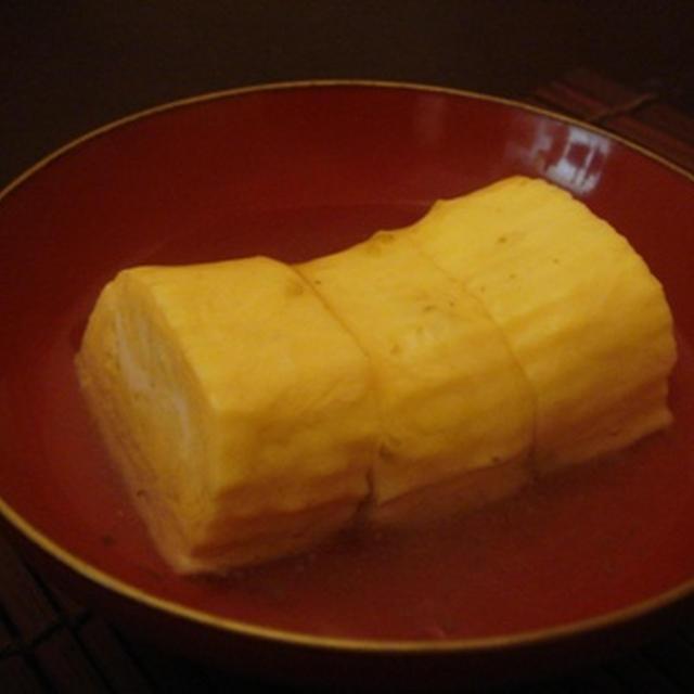 だし巻きの柚子胡椒餡と白菜とほうれん草の檸檬和えでおうち小料理屋……