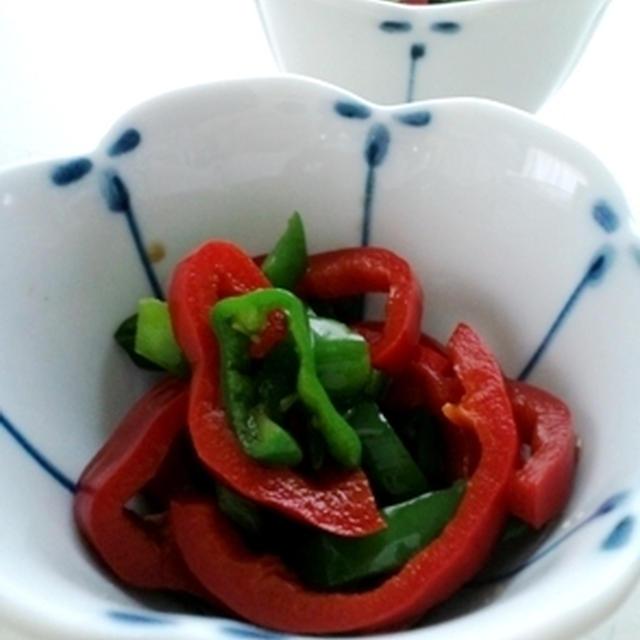 出張赤貧亭、2色のピーマン中華和え、焼き茄子胡麻和えで野菜づくしの昼餉