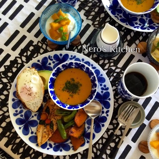 鶏ササミと夏野菜のソテー・収穫野菜で日曜ブランチ♪