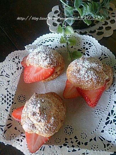 《レシピ》イチゴのシュークリーム♡ と、本日のわんこ。