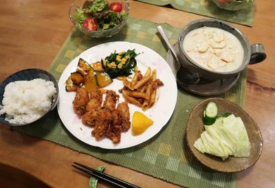 今年初物! 牡蠣フライの晩ご飯♪
