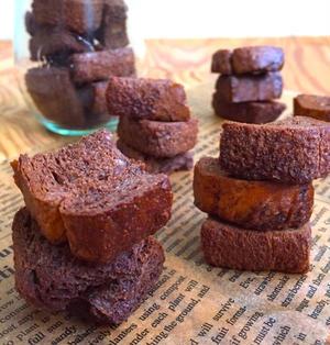 かたくなった食パン消費に! 材料3つ♪トースターでチョコしみしみラスク