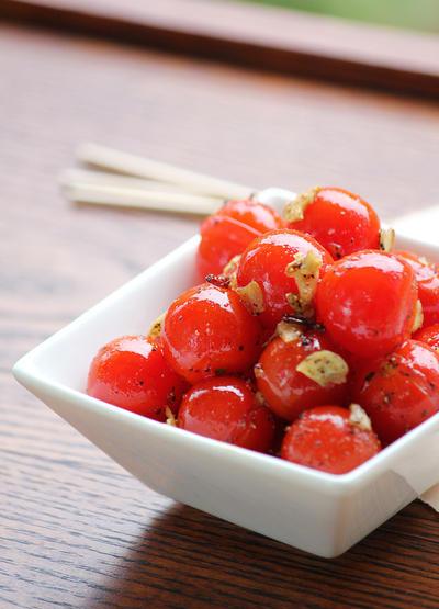 ミニトマトのガーリック炒め♡お弁当にも♪