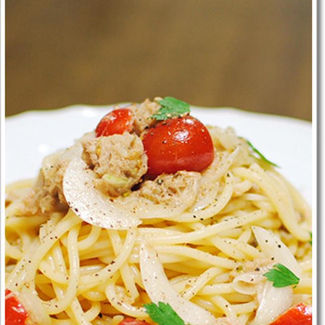 夏のヘビーローテーション、ツナとミニトマトの冷製スパゲッティ(黒胡椒多め)