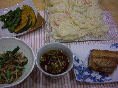 豚ひき炒め&夏野菜