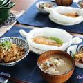 鮭の味噌マヨレンジ蒸し・特大なめこで炊き込みご飯とお味噌汁(卯の花リメイク♪) by 杏さん