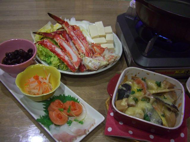 カニのすき焼鍋とグラタンとお刺身