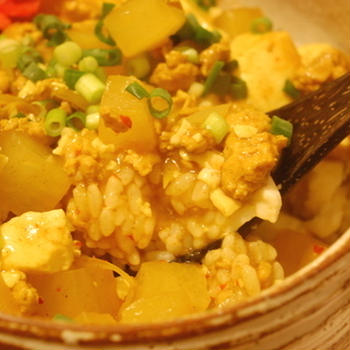 残り物で! カレー麻婆豆腐丼