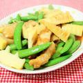 ガーリック風味の豚肉がアクセント♪筍とスナップエンドウのオイスターソース炒め