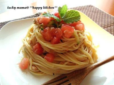 レモン風味の冷製トマトガーリックパスタ