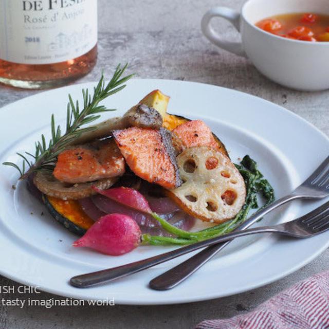 秋鮭と野菜との塩麹バターソテー