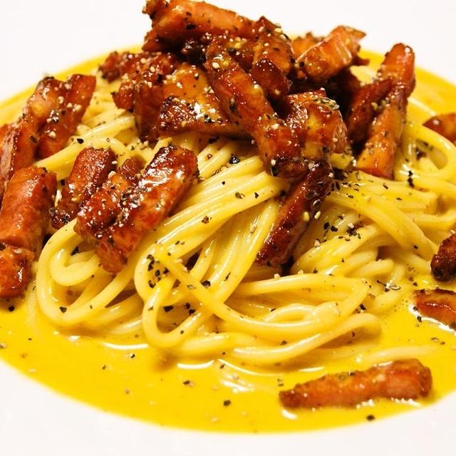 生クリームを使ったスパゲッティ・カルボナーラ