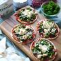 超簡単♡おしゃれ|ヤミツキな美味しさ|旬!春野菜|ホームパーティ仕様のミニピザ【菜の花とシラスのブルサンピザ】
