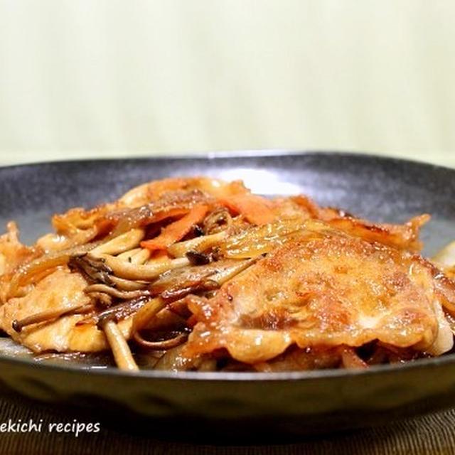 野菜たっぷり「豚の生姜焼き」&ルクエで「枝豆のガーリックロースト」