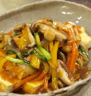 【和食】「厚揚げで♪野菜たっぷり和風甘酢あんかけ」