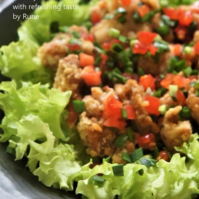 竜田揚げとさっぱりした味わいのフレッシュ韮トマトソース