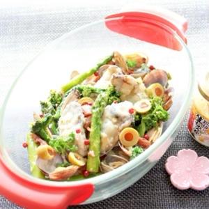 糖質オフ☆あさりと牡蠣と菜の花のアクアパッツァ
