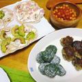 イタリア風・ギリシア風の「おだんご」料理2品、ほうれん草のニョッキと茄子のケフテデス、ドイツなら「フラウクーヘン」フランスなら「タルト・フランベ」
