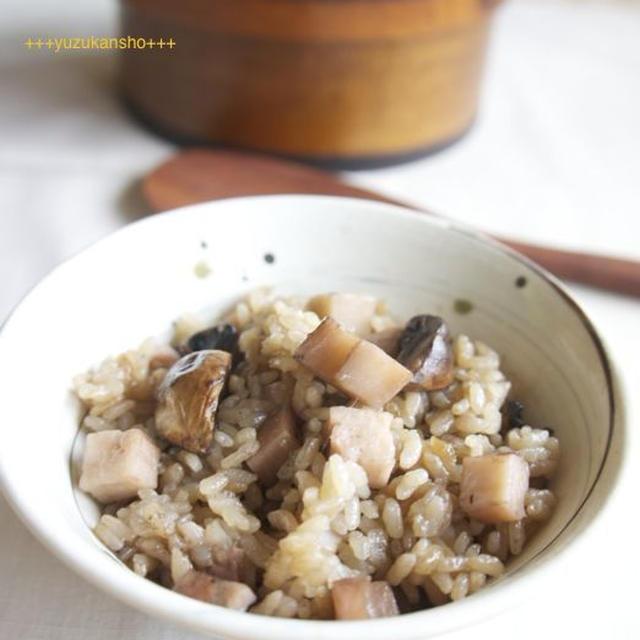 マッシュルームとれんこんの炊き込みご飯*8日米の日
