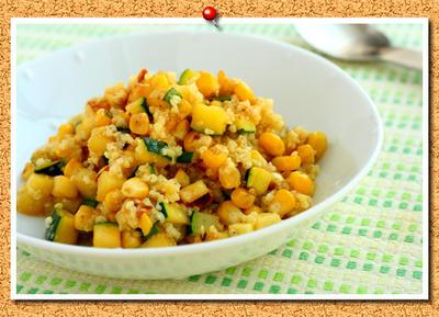 雑穀レシピ♪ズッキーニとコーンのもちきび和え。
