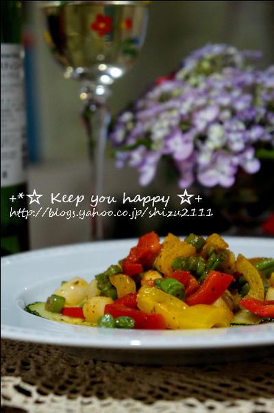 +*貝柱と夏野菜のイタリアンハーブ炒め+*