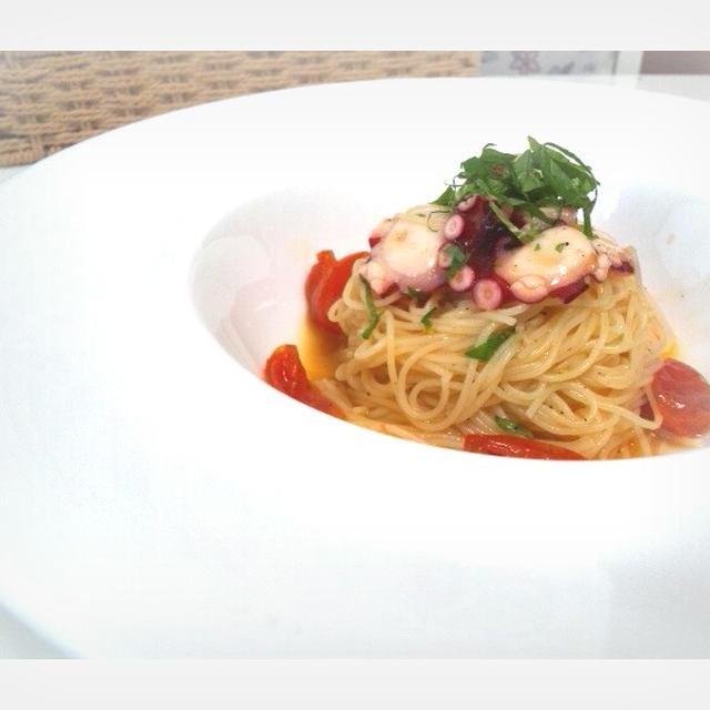 真蛸とトマトと大葉の冷製パスタ