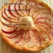 シナモンアップル・クリームチーズ ピザ♡ バニラ添え♬/デザートピザ生地レシピ付き