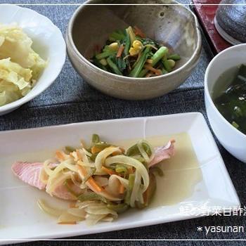 鮭の野菜甘酢漬け。の夕ご飯
